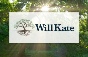 willkate logo with trees in the background